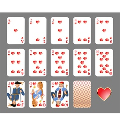 playing cards heart suit vector image vector image