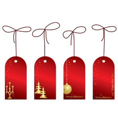 red christmas labels with decorations vector image