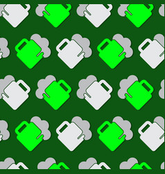 seamless pattern - green white beers with froth vector image vector image