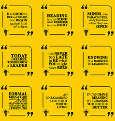 Set of motivational quotes about reading wisdom vector image