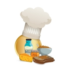Breakfast food cereal cheese toast milk honey vector