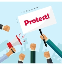 Protesters hands holding protest signs crowd vector image vector image