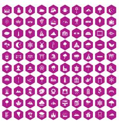 100 scenery icons hexagon violet vector image vector image