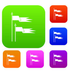 Ancient battle flags set collection vector