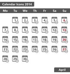 April 2014 Calendar Icons vector image vector image