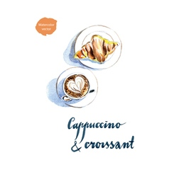 cappuccino croissant vector image vector image