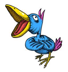 cartoon image of singing bird vector image vector image