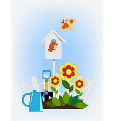 flower beds and bird house vector image vector image