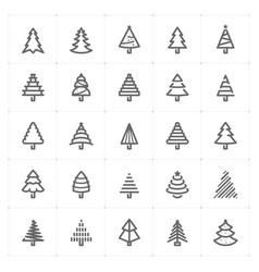 mini icon set christmas tree icon vector image vector image