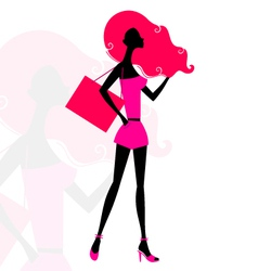 Retro girl silhouette vector image vector image