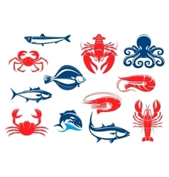 Seafood icon set with fish and crustacean vector image vector image
