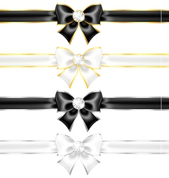 White and black bows with diamonds gold edging and vector image vector image