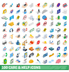 100 care and help icons set isometric 3d style vector image