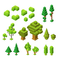 3d isometric trees of plastic vector image