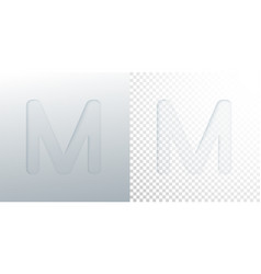3d paper cut letter m isolated on transparent vector image
