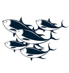 A flock of tuna vector