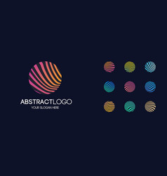 abstract linear logotype set modern gradient style vector image