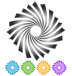 Abstract twisting rotating elements in 5 colors vector