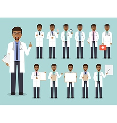 African doctor medical and hospital staff charact vector image