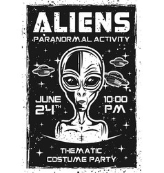 Aliens invitation poster for thematic party vector