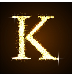 Alphabets K of gold glittering stars vector