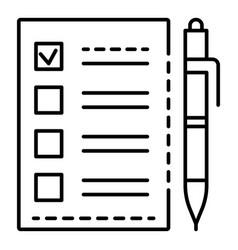 Ballot checklist icon outline style vector