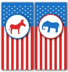 Banners with Donkey and Elephant as a Symbols Vote vector image