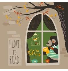 Bear reading a book near the window vector