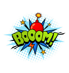boom exlosion sound comic cartoon style bubble vector image