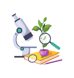 botany kit with microscope and plant in pot set vector image vector image