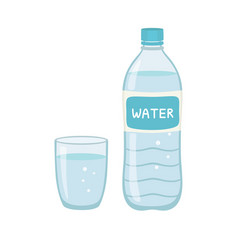 Bottle water natural and glass vector