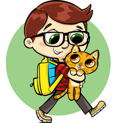 Boy who goes to school vector
