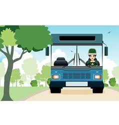 Buses in the garden vector