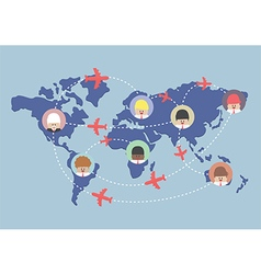 Businessman and airplane routes on world map vector image