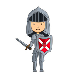 Cartoon knight character with sword vector