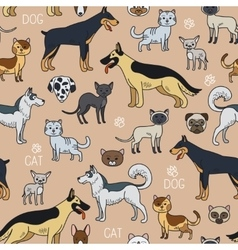 Cats and dogs seamless pattern vector