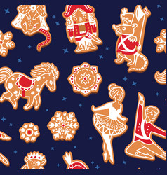 christmas gingerbread seamless pattern with with vector image