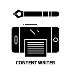 Content writer icon black sign with vector