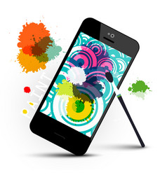 creative art application on mobile phone with vector image