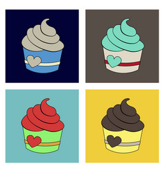 Cupcake with sweet cream and bright colorful vector