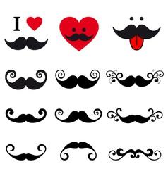 curly mustache set design elements vector image