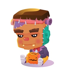 Cute Cartoon Halloween Character - Frankenstein vector image