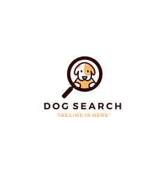 cute dog inside magnifier glass searching icon vector image