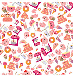 cute sweet pink bakery items seamless pattern vector image