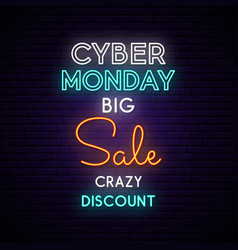 cyber monday neon sign board on brick wall light vector image
