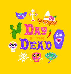 day dead handwritten postcard vector image