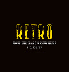 decorative sans serif narrow font in retro style vector image
