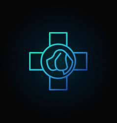 dog head in cross outline blue icon vector image