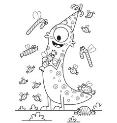 doodle halloween coloring book page cute monster vector image