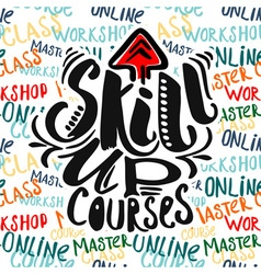 Education and skill up concept hand lettering vector